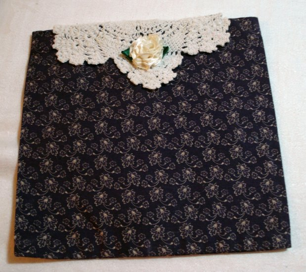 4 Handcrafted reusable gift vanity bag purple print doily white ribbon rose enviro solutions hc2014