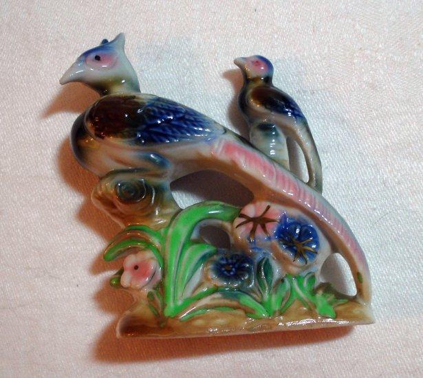 Pheasants and flowers antique flat figurine Japanese porcelain hc2015