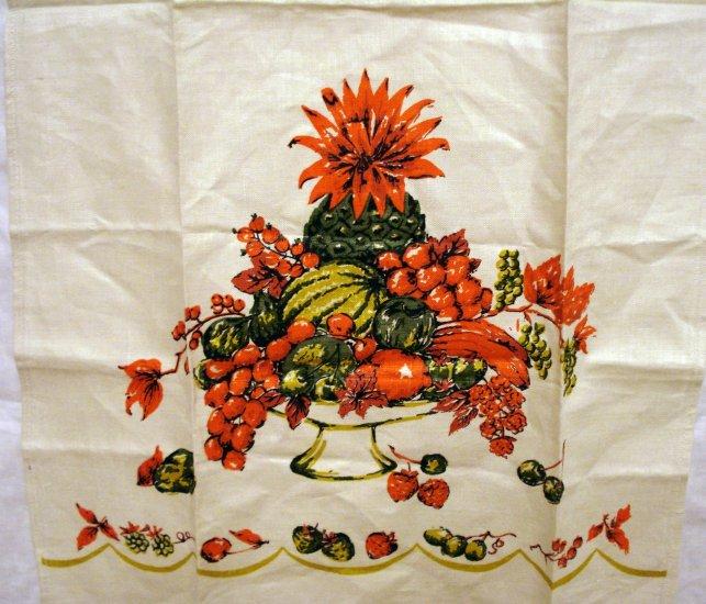 Fine Irish linen tea towel fruit compote unused vintage hc2036
