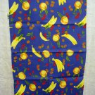 Mixed fruit on blue cotton kitchen towel unused vintage hc2046