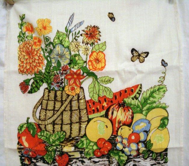 1986 Calendar towel cotton flower basket fruit butterlies hc2047