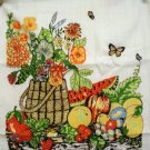 1986 Calendar towel cotton flower basket fruit butterlies hc2047