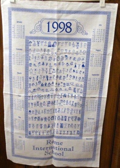 1998 Rome International School calendar towel stick figure students unused hc2053