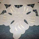 Whitework and cutwork linen table centerpiece or topper spotless vintage hc2062