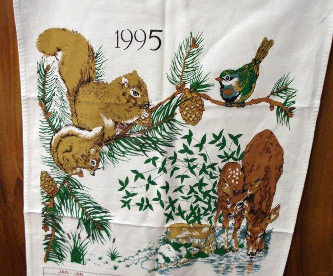 1995 Calendar cotton towel forest creatures mint vintage hc2068