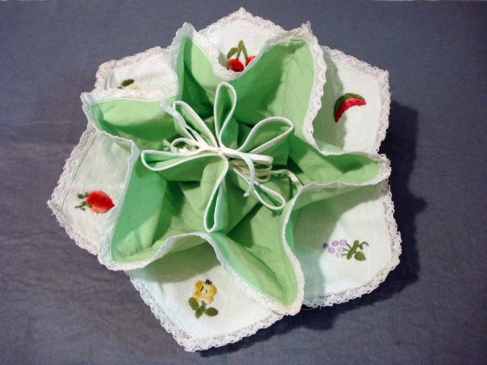 Green white roll bun keeper server crewel embroidery lace edge vintage hc2069