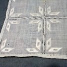 Antique linen placemats or tray liners set of 6 white embroidery threadwork hc2071