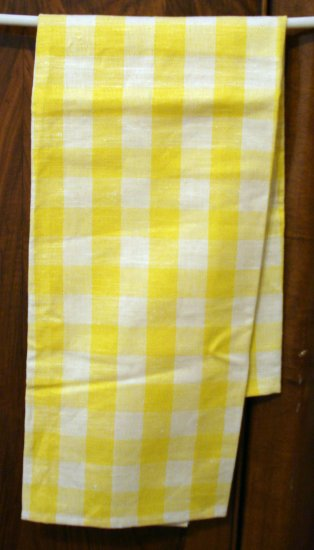 Linen cotton yellow white check tea or kitchen towel unused hc2074