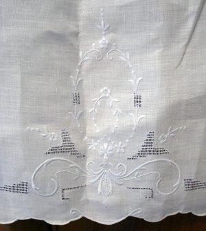 Victorian linen hand towel pale blue Madeira embroidery threadwork antique linens ll2118