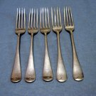 5 Antique dinner forks silver plate 2 makers same pattern 19th century antique silver hc2107