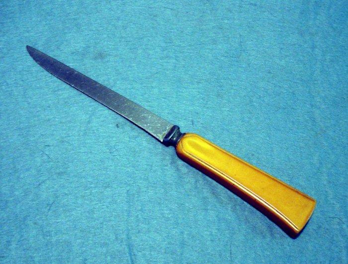Butterscotch bakelite stainless steel kitchen knife vintage cutlery hc2164