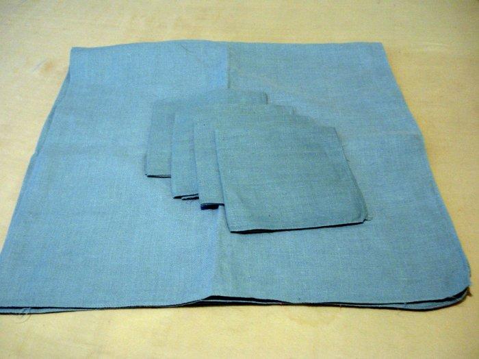Blue linen tablecloth 4 napkins plain as new vintage hc2175