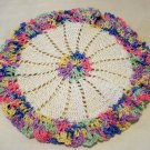 Pair hand crocheted ruffled small doilies or hot pads variegated thread vintage hc2183