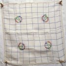 Embroidered windowpane check  linen tea or tablecloth crocheted edging vintage linens hc2189