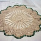 Round hand crocheted doily pineapple motif with bobbles sage and sand vintage needlework hc2192