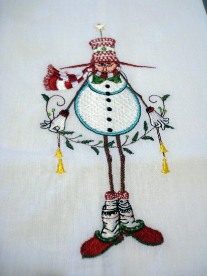 Humorous embroidered Christmas guest towel snowman in house slippers Christmas linens hc2195