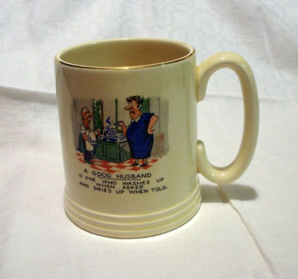 A Good Husband Lord Nelson Ware tankard Staffordshire England Elijah Cotton vintage hc2197