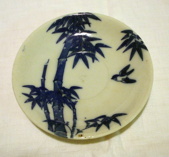 Bamboo with bluebird Nippon small plate or saucer antique porcelain hc2201