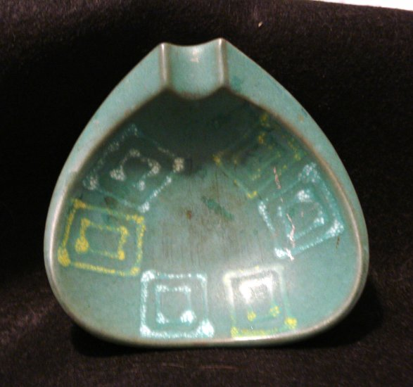 West German retro ashtray red clay turquoise vintage ceramics pottery hc2215