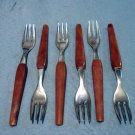 6 Party forks stainless and marbled plastic mid-century modern made Germany hc2224