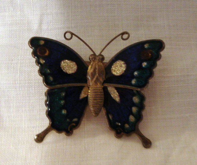 Brass and cloisonne butterfly fridge magnet blue green irridescent vintage hc2267