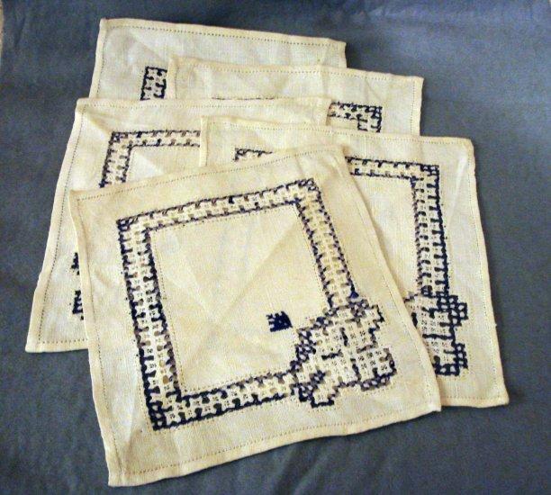 Linen cocktail or tea napkins Hardanger style threadwork embroidery vintage hc2279
