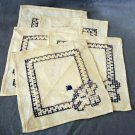 Linen cocktail or tea napkins Hardanger style threadwork embroidery vintage hc2279