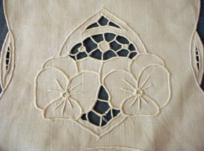 Antique linen lingerie hosiery case pansy embroidery openwork cutwork  hc2281
