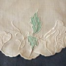 Antique linen oval mat embroidery applique green white exc. condition hc2285