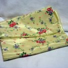 1950s Nylon satin hosiery case floral on yellow vintage unused hc2304