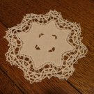 Set of 4 linen handmade lace drink coasters cutwork vintage hc2305