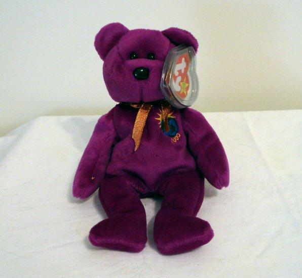 Millennium 2000 bear Ty Beanie Baby magenta plush retired mint  hc2316
