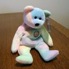 B B Bear 1 candle pastel tie dye Ty Beanie Baby  toy retired mint  hc2329