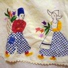 Dutch boy girl embroidered bib apron hand crocheted lace edge antique hc2338