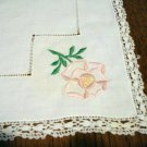 Embroidery threadwork crocheted lace linen table topper pink roses vintage  hc2339