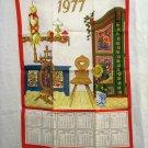 1977 Trilingual calendar tea towel Tyrol motifs unused vintage hc2343
