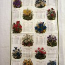 1979 Flowering plants souvenir towel tri-lingual Swiss made Alba vintage hc2345
