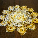 Marigold and white hand crocheted doily pinwheel Irish crochet flowers perfect vintage  hc2348
