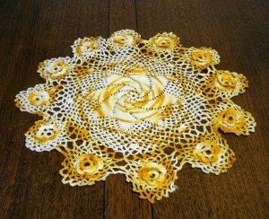 Marigold and white hand crocheted doily pinwheel Irish crochet flowers perfect vintage  hc2348