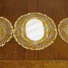 3 Piece buffet set of linen centered crocheted doilies varigated thread  vintage  hc2351