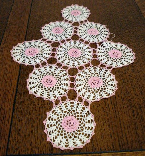 Antique hand crochet doily small flower centered circles oblong  hc2355