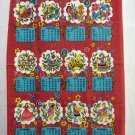 1975 Calendar tea towel Pennsylvania Dutch motif Save the Children promo vintage hc2362