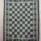 Jacquard tea kitchen towel checkerboard fruit motif green vintage hc2369