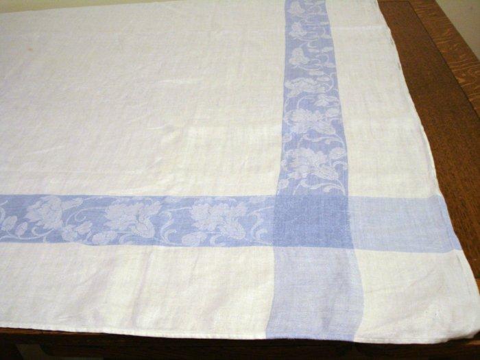 Antique linen tablecloth jacquard weave classic blue frame hc2376