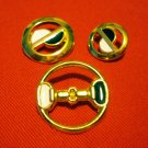 Buttons odd lot 3 gold tone enamel yin yang for crafts jewelry vintage hc2402