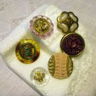 Buttons odd lot of 6 elegant 1940s plastic with shanks for crafts jewelry vintage hc2412
