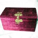 Burgundy velvet jewelry box casket padded frog closure vintage hc2437