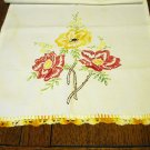 Vintage cotton dresser scarf embroidered flowers crocheted lace ends depression era hc2444