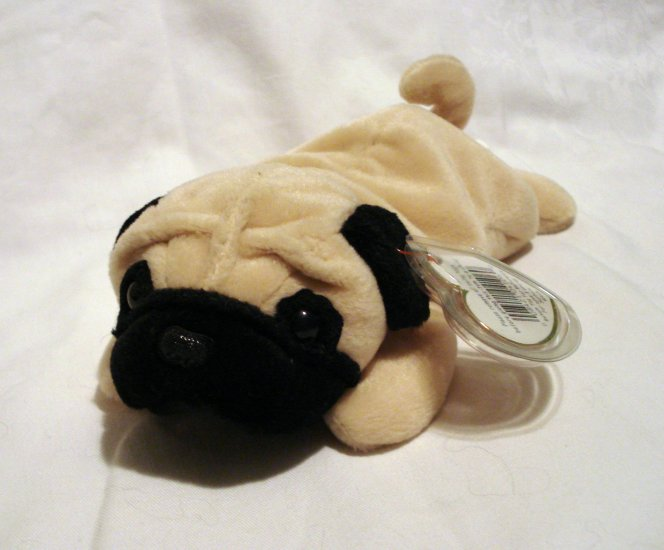 Pugsly the Sharpei dog 1996 Ty Beanie Baby toy retired mint hc2464