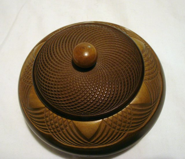 Art Deco carved wooden box with lid powder tea tobacco Hall in Tirol hc2472